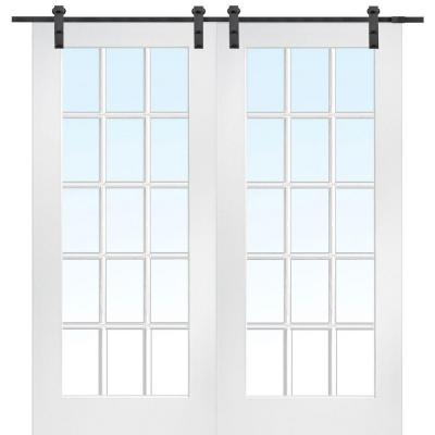 72 in. x 80 in. 15 Lite Smooth Composite Double Barn Door with Sliding Door Hardware Kit Product Photo