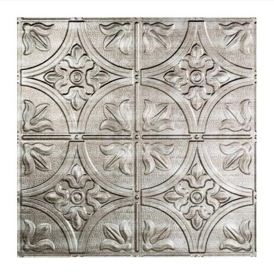Fasade Traditional 2 - 2 ft. x 2 ft. Lay-in Ceiling Tile in Crosshatch Silver