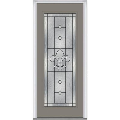 36 in. x 80 in. Carrollton Decorative Glass Full Lite Painted Majestic Steel Prehung Front Door Product Photo