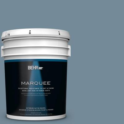 BEHR MARQUEE 5-gal. #QE-54 Shaker Blue Satin Enamel Exterior Paint