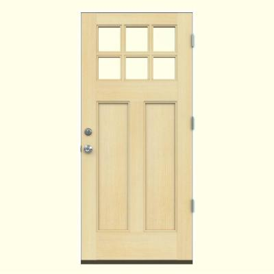 36 in. x 80 in. Craftsman 6-Lite Unfinished Hemlock Prehung Front Door with Primed White AuraLast Jamb Product Photo