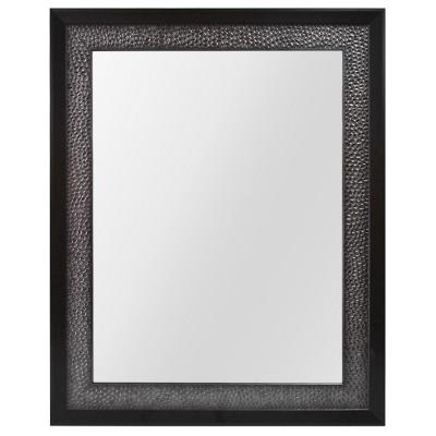 23.35 in. W x 29.35 in. L Framed Wall Mirror in Pewter and Espresso Product Photo