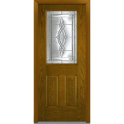 32 in. x 80 in. Brentwood Decorative Glass 1/2 Lite 2-Panel Finished Oak Fiberglass Prehung Front Door Product Photo