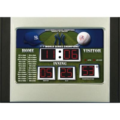 null New York Yankees 6.5 in. x 9 in. Scoreboard Alarm Clock with Temperature