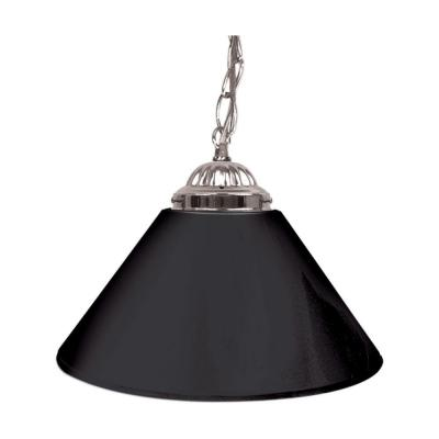Trademark Global 14 in. Single Shade Black and Silver Hanging Lamp