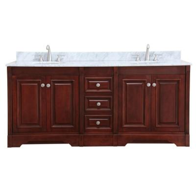 Virtu USA Austen 73 in. Double Basin Vanity in Cherry with Marble Vanity Top in Italian Carrera White-DISCONTINUED