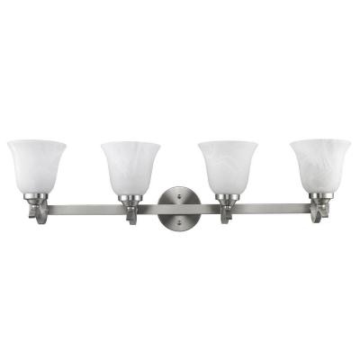 Chloe Lighting Avaline Transitional 4-Light White Wall Bath Vanity Fixture with Brushed Nickel ...