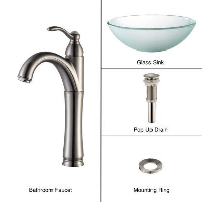 Glass Vessel Sink in Frosted with Single Hole 1-Handle High-Arc Riviera Faucet in Satin Nickel Product Photo