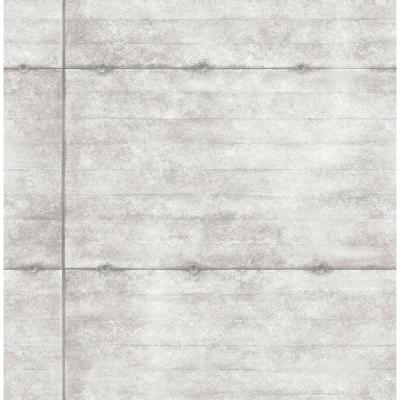 8 in. W x 10 in. H Light Grey Smooth Concrete Geometric Wallpaper Sample Product Photo