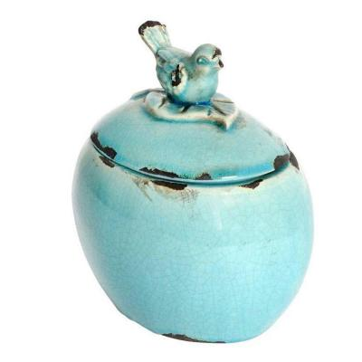 Oval 5 in. W x 7 in. H Turquoise Ceramic Bird