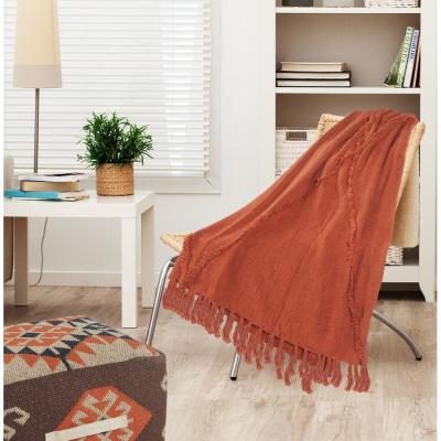 Briston Moroccan Fringed Tufted Cotton Throw Blanket