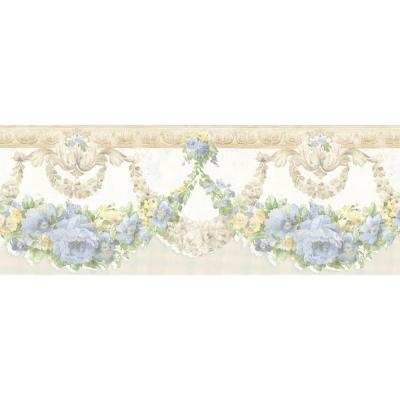 6 in. W x 180 in. H Marianne Light Blue Floral Bough Border Product Photo
