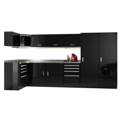 Moduline Select Series 75 in. H x 144 in. W x 48 in. D Aluminum Cabinet Set in Black with Stainless Steel Worktop (13-Piece)
