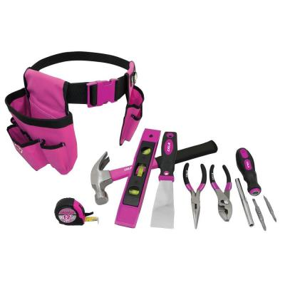 Cala Tools Home Repair Tool Set in Pink (8-Piece) with Tool Belt
