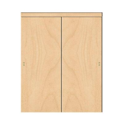 48 in. x 96 in. Smooth Flush Solid Core Stain Grade Maple MDF Interior Closet Sliding Door with Matching Trim Product Photo