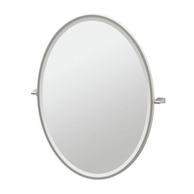 Bleu 28 in. x 33 in. Framed Single Large Oval Mirror