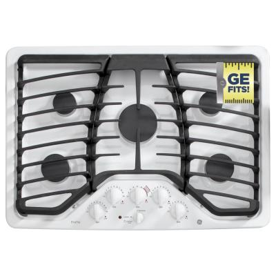 Profile 30 in. Gas Cooktop in White with 4 Burners including