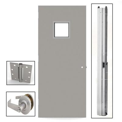 L.I.F Industries 36 in. x 80 in. Gray Flush Steel Vision Light Commercial Door Unit with Hardware