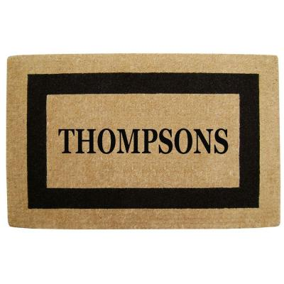 Creative Accents Single Picture Frame Black 30 in. x 48 in. HeavyDuty Coir Personalized Door Mat