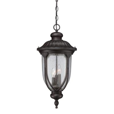 Acclaim Lighting Laurens Collection 3-Light Outdoor Black Coral Hanging Lantern