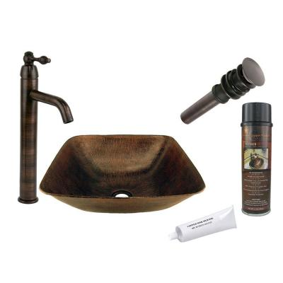 All-in-One Square Vessel Hammered Copper Bathroom Sink in Oil Rubbed Bronze