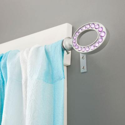 28 in. - 48 in. Telescoping 5/8 in. Curtain Rod Kit in Silver with Purple Hoop Finial Product Photo