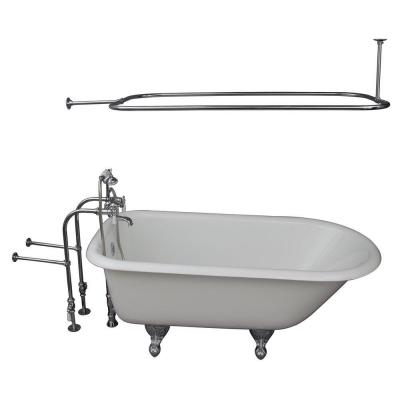 Barclay Products 5.6 ft. Cast Iron Ball and Claw Feet Roll Top Tub in White with Polished Chrome Accessories