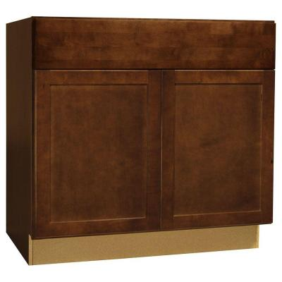 36x34.5x24 in. Shaker Base Cabinet with Ball-Bearing Drawer Glides in Cognac Product Photo