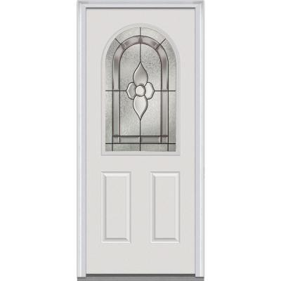 32 in. x 80 in. Master Nouveau Deco Glass Round Top