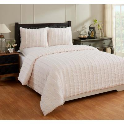 Angelique Collection in Stripes Design 100% Cotton Tufted Chenille Comforter