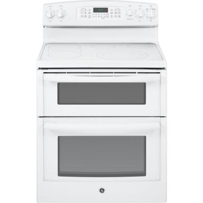 GE 6.6 cu. ft. Double Oven Electric Range with Self-Cleaning Oven and Convection (lower oven) in White