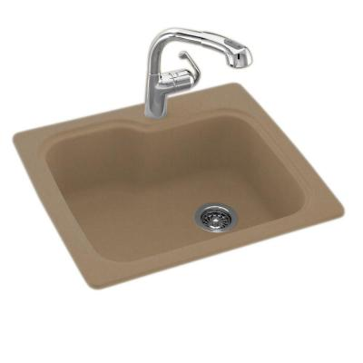 Dual Mount Composite 25 in. 1-Hole Single Bowl Kitchen Sink in