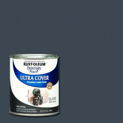 Rust-Oleum Painter's Touch 32 oz. Ultra Cover Gloss Dark Gray General Purpose Paint (Case of 2)