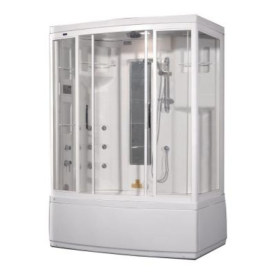 ZAA208 59 in. x 36 in. x 86 in. Steam Shower Left Hand Enclosure Kit in White with 9 Body Jets and Whirlpool Bath Product Photo