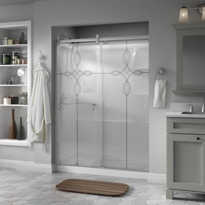 Delta Portman 60 in. x 71 in. Semi-Frameless Contemporary Sliding Shower Door in Nickel with Tranquility Glass