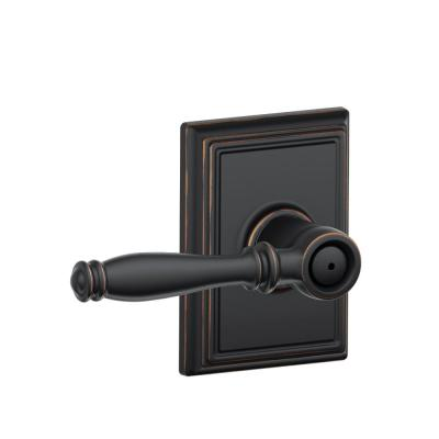 Schlage Addison Collection Birmingham Aged Bronze Bed and Bath Lever