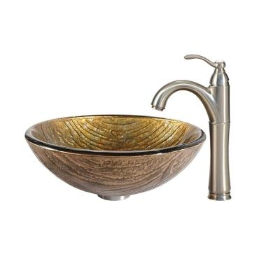 Terra Glass Vessel Sink in Multicolor and Riviera Faucet in Satin