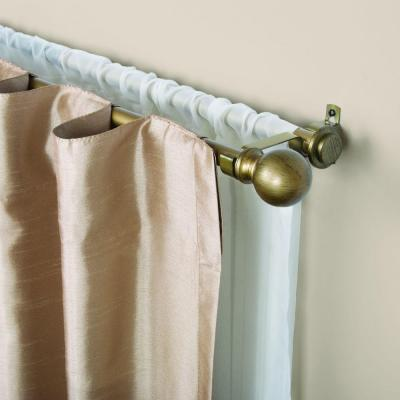 66 in. - 120 in. Telescoping 5/8 in. Double Curtain Rod Kit in Old World Brass with Ball Finial Product Photo