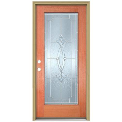 36 in. x 80 in. Champagne Full Lite Unfinished Mahogany Wood Prehung Front Door with Brickmould and Zinc Caming Product Photo
