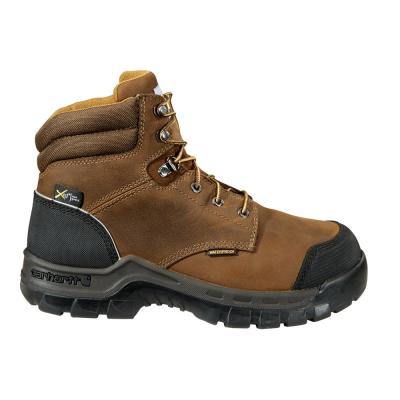 """Men's Rugged Flex Brown Leather Waterproof Composite Safety Toe Lace-up 6"""" Work Boot"""