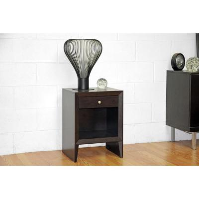 Leelanau Modern Accent Table and Nightstand in Dark Brown Product Photo
