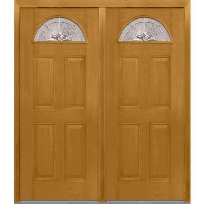 72 in. x 80 in. Heirloom Master Decorative Glass 1/4 Lite Finished Fiberglass Mahogany Double Prehung Front Door Product Photo