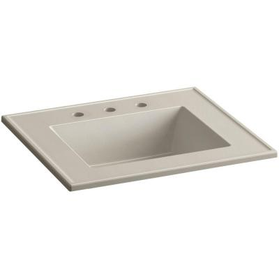 Ceramic/Impressions 25 in. Vitreous China Vanity Top with Basin in Sandbar