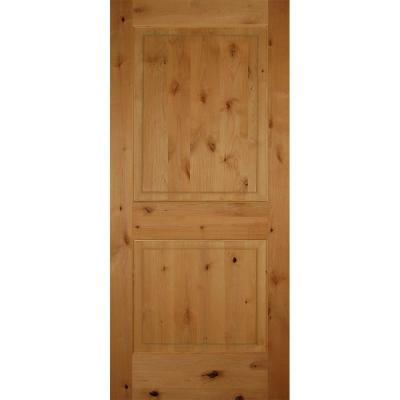 36 in. x 80 in. 2-Panel Square Top Solid Core Knotty Alder Single Prehung Interior Door Product Photo