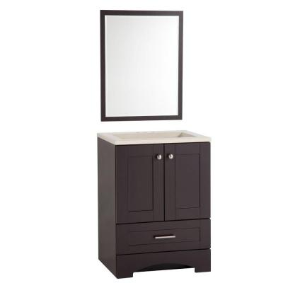 Shaker 24-1/4 in. W Vanity in Espresso with Colorpoint Vanity Top