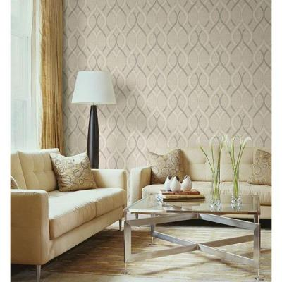 56 sq. ft. Frequency Beige Ogee Wallpaper