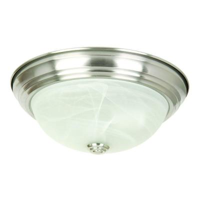 3-Light Satin Nickel Flushmount with White Marble Glass Shade