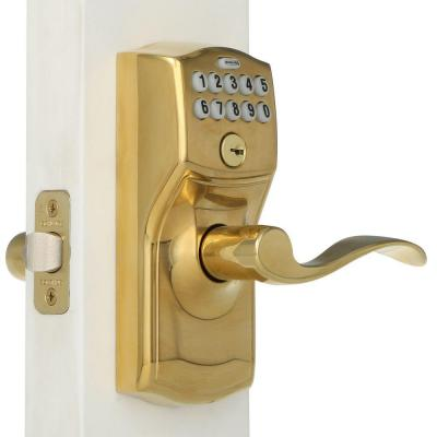 Camelot Bright Brass Accent Keypad Lever