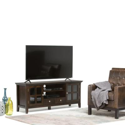 Simpli Home Acadian Tobacco Brown Storage Entertainment Center