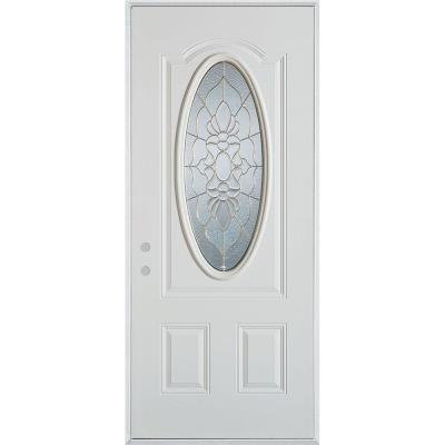 36 in. x 80 in. Traditional Brass 3/4 Oval Lite 2-Panel Prefinished White Right-Hand Inswing Steel Prehung Front Door Product Photo